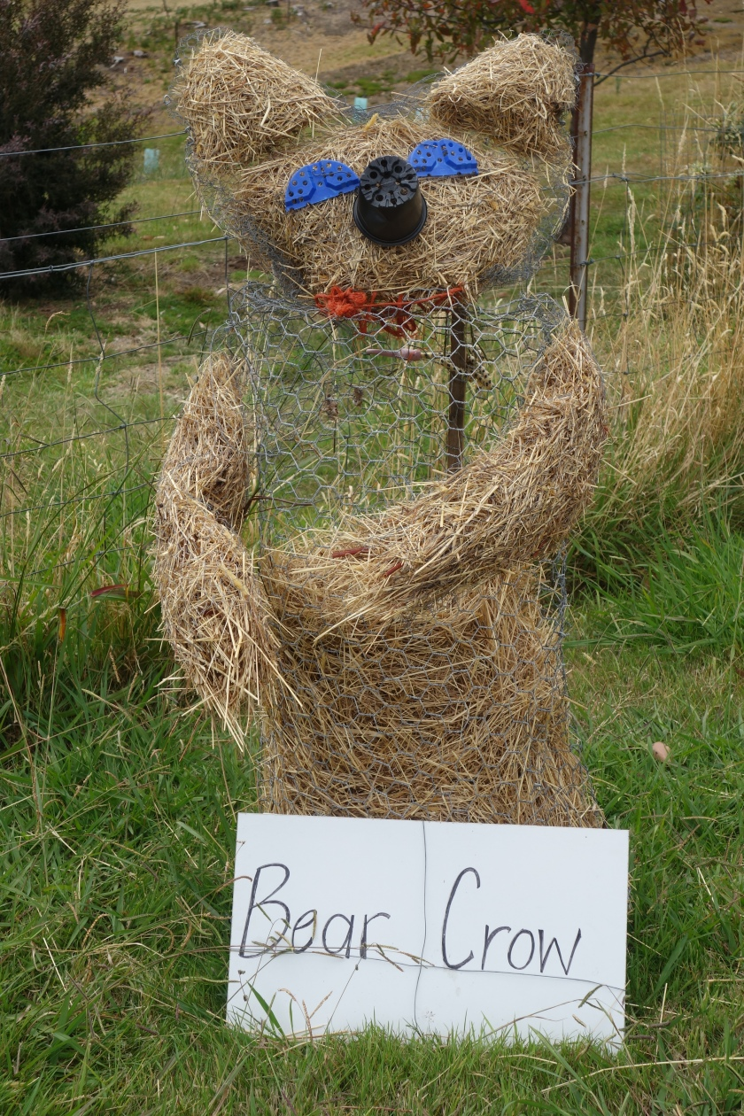 "Bear made of hay with flower pot pieces for eyes and nose.  Named ""Bear Crow"""