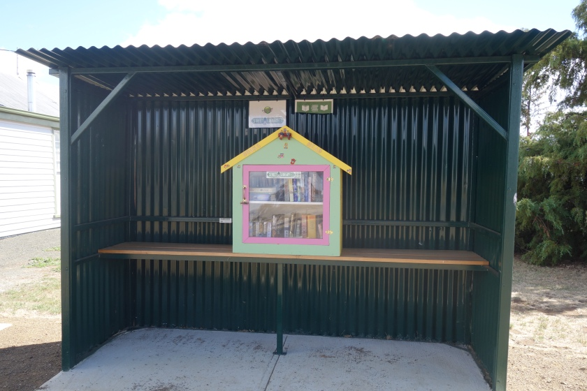 Street Library with books at the Bus Stop in Tunbridge, Tasmania