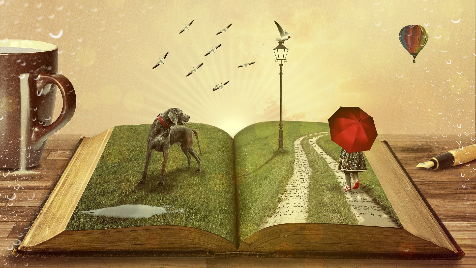 Old book open with dog, birds, road and girl with red umbrella on pages.  Coffee cup, pen and balloon in the background