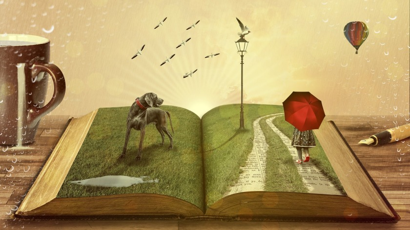 book,old,dog,girl,umbrella,red,read,libary