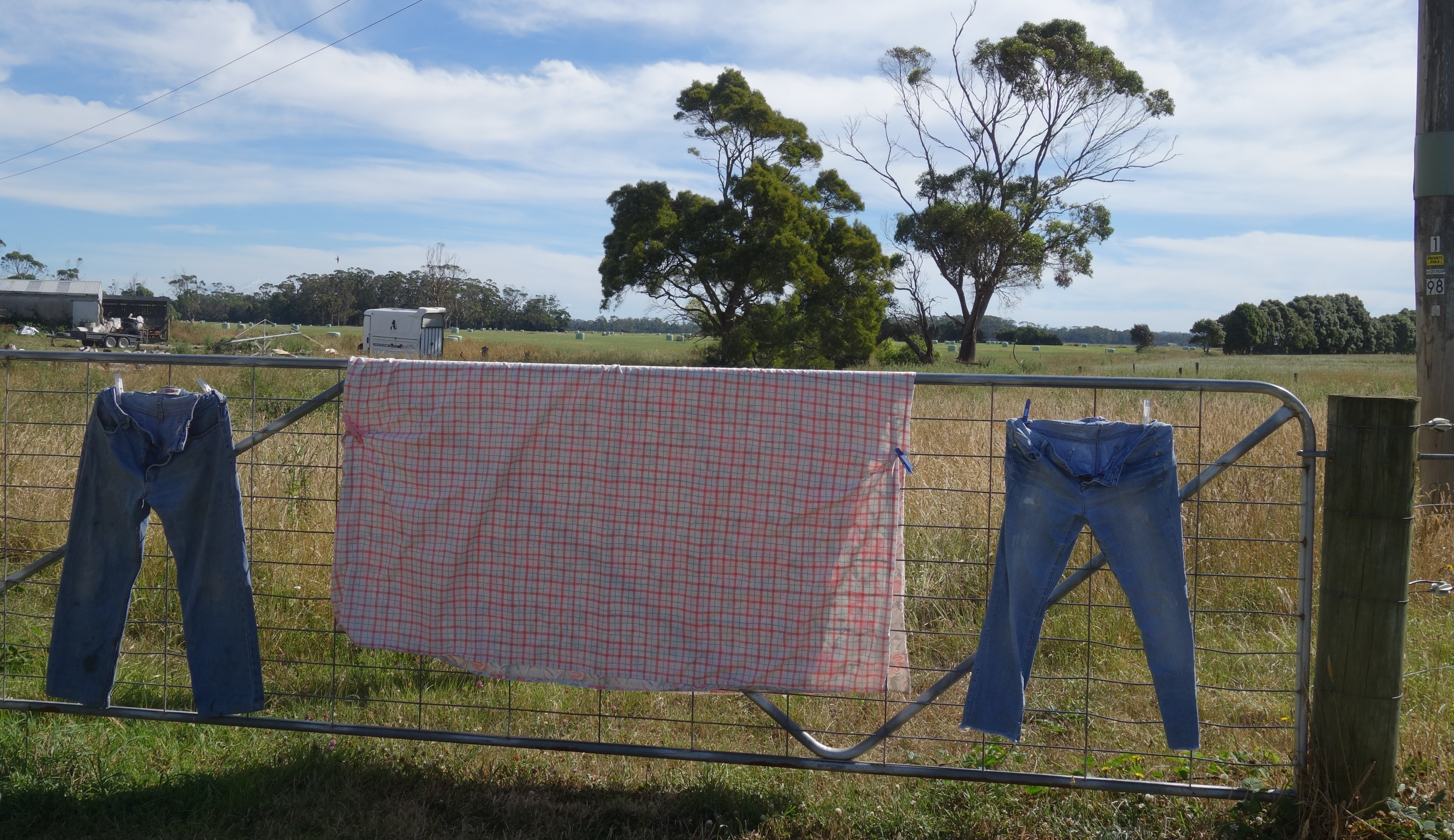 Two pairs of jeans and a sheet drying on a farm gate